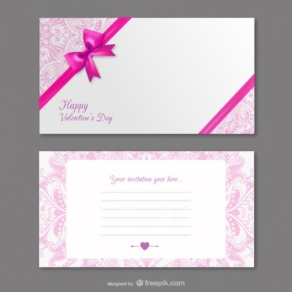 Valentines Invitation Card Free Vector