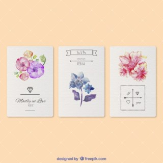 Valentines Watercolor Cards Free Vector
