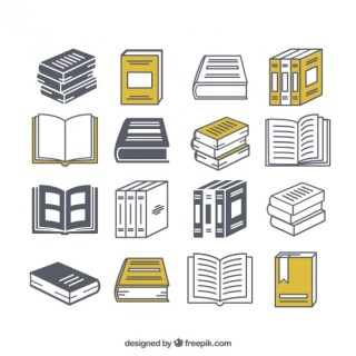 Variety of Book Icons Free Vector