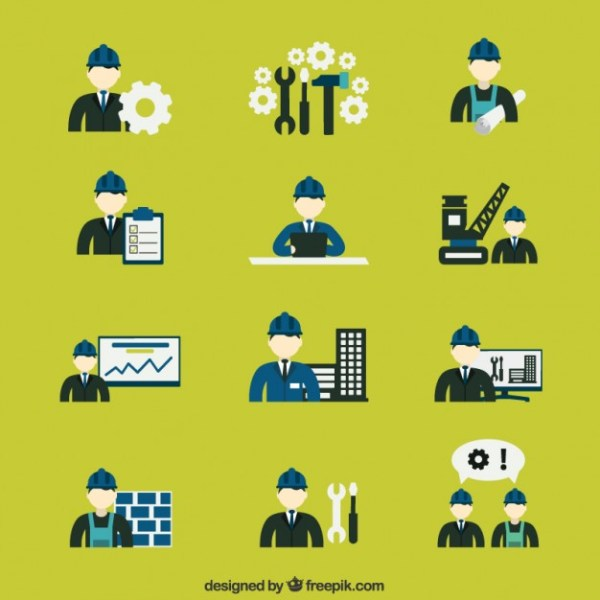 Variety of Construction Engineer Icons Free Vector