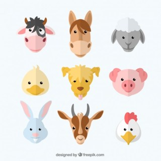 Variety of Farm Animals Free Vector