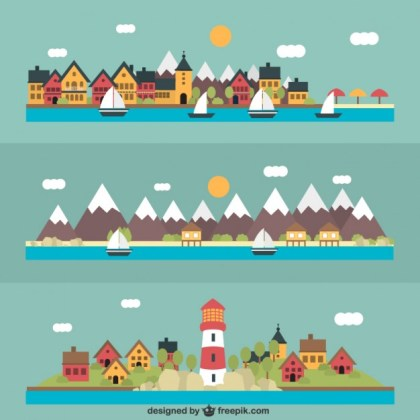 Variety of Seascapes Free Vector