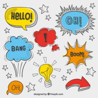 Variety of Sketchy Speech Bubbles Free Vector