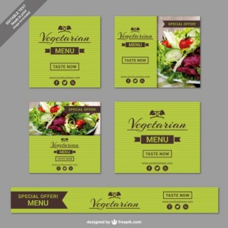 Vegetarian Restaurant Banner Templates Free Vector