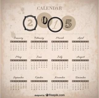 Vintage 2015 Calendar Free Vector