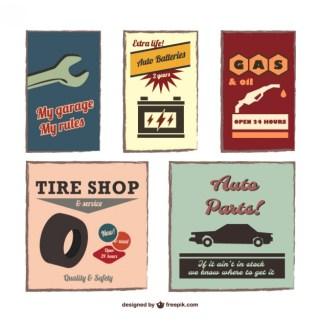 Vintage Auto Emblems Set Free Vector