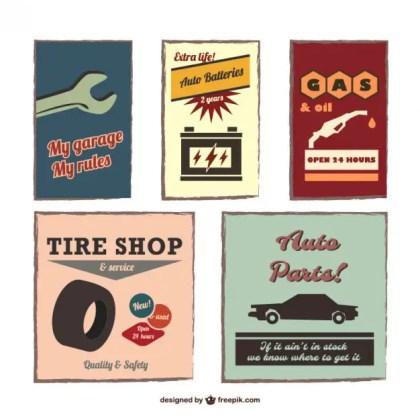 Vintage Auto Emblems Set Free Vector
