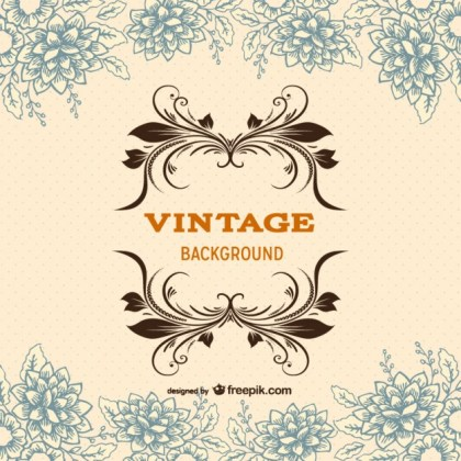 Vintage Background Template with Floral Ornaments Free Vector