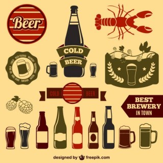 Vintage Beer Design Elements Free Vector