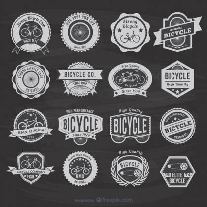 Vintage Bicycle Stickers Free Vector