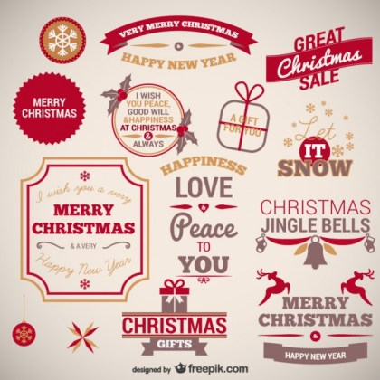 Vintage Christmas Badges Collection Free Vector