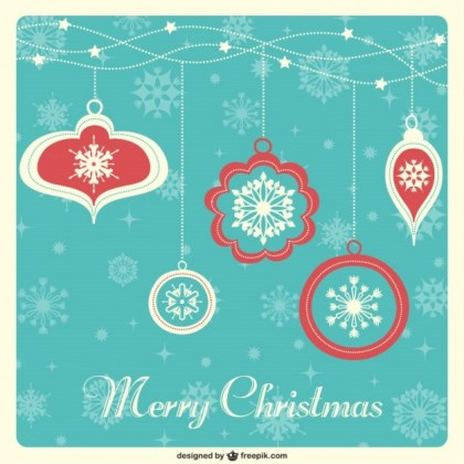 Vintage Christmas Card with Baubles Free Vector