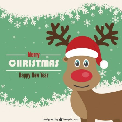 Vintage Christmas Card with Reindeer Free Vector