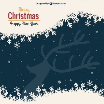 Vintage Christmas Card with Reindeer Silhouette Free Vector