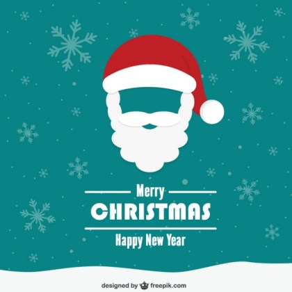 Vintage Christmas Card with Santa Claus Face Free Vector