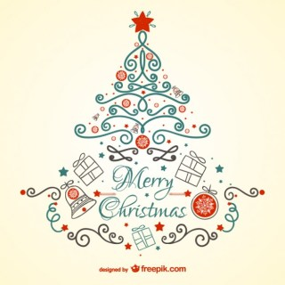 Vintage Christmas Card with Tree Free Vector