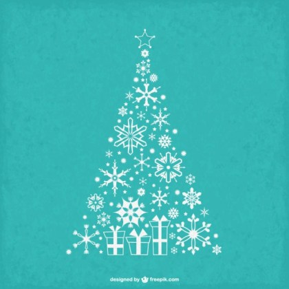 Vintage Christmas Tree with Snowflakes Free Vector