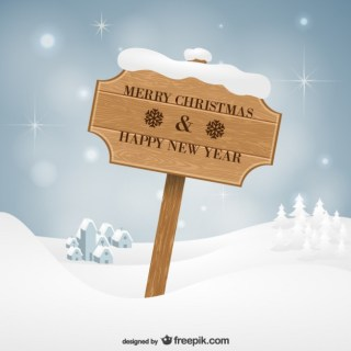 Vintage Christmas Wooden Sign Free Vector