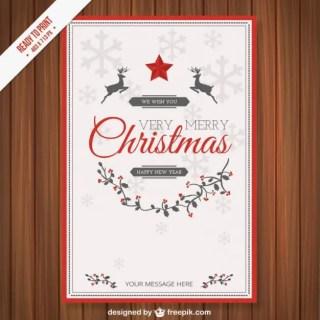 Vintage Cmyk Christmas Card Template Free Vector