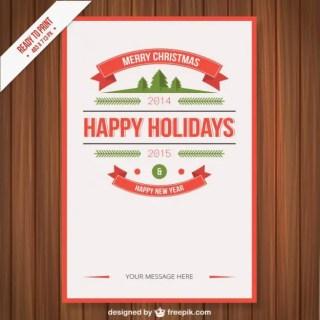 Vintage Cmyk Christmas Poster Free Vector