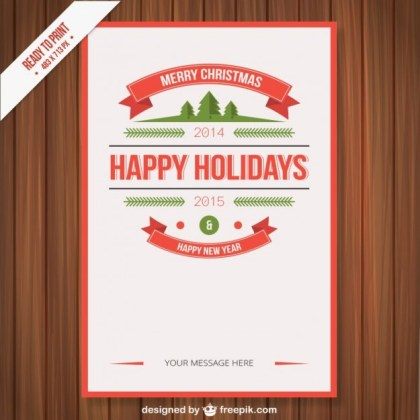 Vintage Cmyk Christmas Poster Free Vector