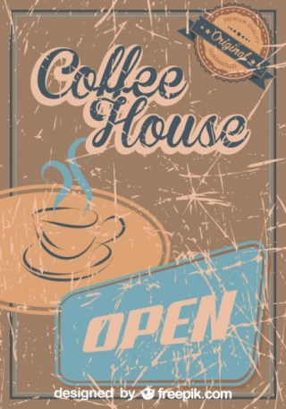 Vintage Coffee Grunge Poster Coffee House Free Vector