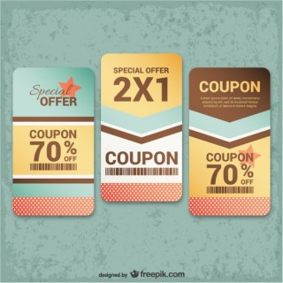 Vintage Coupons Pack Free Vector