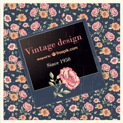Vintage Design with Rose Free Vector