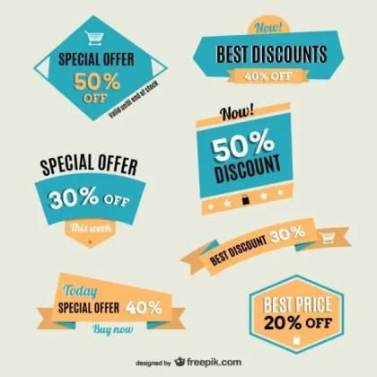 Vintage Discounts Labels Free Vector