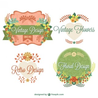 Vintage Floral Graphic Elements Design Free Vector