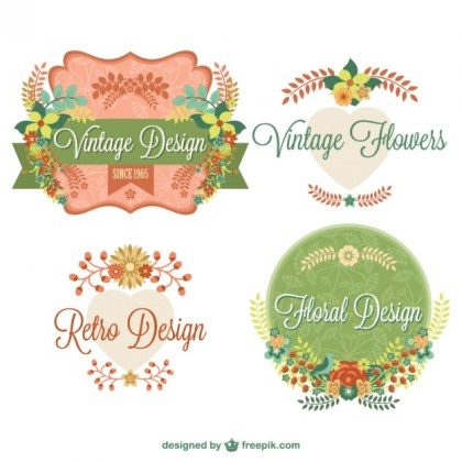 Vintage Floral Graphic Elements Design Free Vector