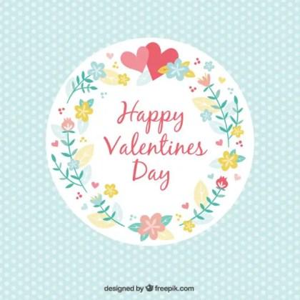 Vintage Floral Valentines Card Free Vector