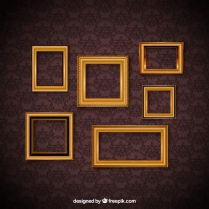 Vintage Frame Set and Decorative Wallpaper Free Vector
