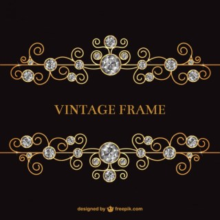 Vintage Frame with Jewels Free Vector