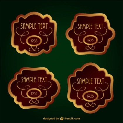 Vintage Gold Labels Set Free Vector
