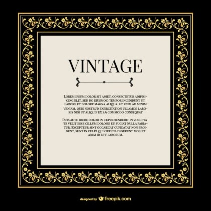 Vintage Gold Ornaments Frame Free Vector