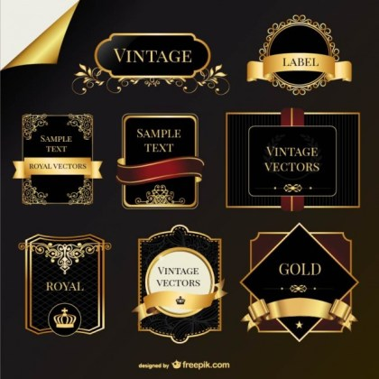 Vintage Golden Labels Free Vector