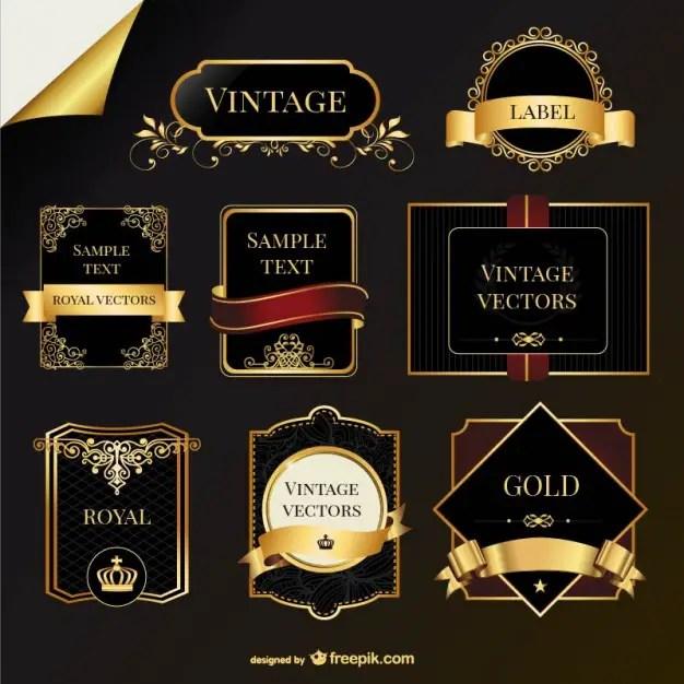 Vintage Golden Labels Free Vector