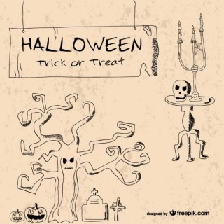 Vintage Hand Drawn Halloween Elements Template Free Vector