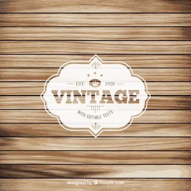 Vintage Label on Wood Floor Free Vector