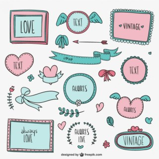 Vintage Love Frames and Ornaments Free Vector