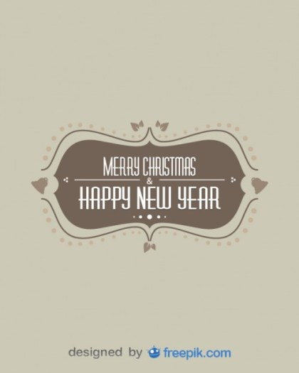 Vintage Merry Christmas & Happy New Year Free Vector