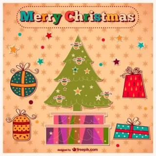 Vintage Merry Christmas Art Free Vector