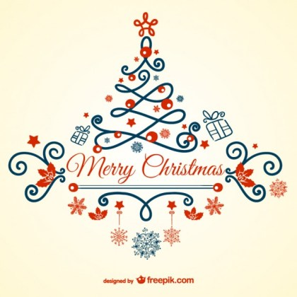 Vintage Merry Christmas Card Free Vector