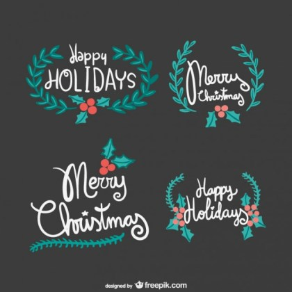 Vintage Merry Christmas Lettering Free Vector
