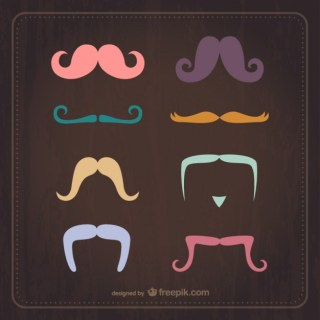 Vintage Moustaches Set Free Vector