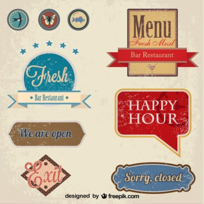Vintage Restaurant Badge and Labels Set Free Vector
