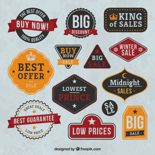 Vintage Sale Badges Collection Free Vector