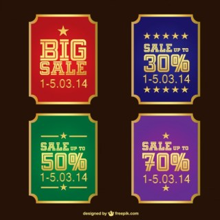 Vintage Sale Stickers Free Vector