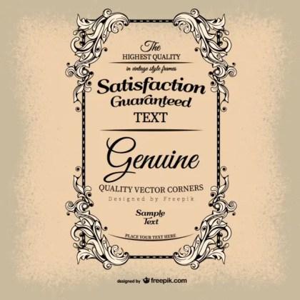 Vintage Satisfaction Guarantee Free Vector